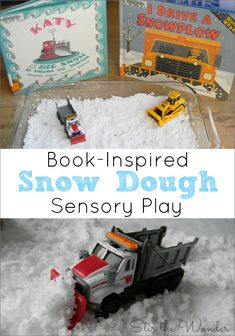 {BOOK REVIEW!}Snow Dough Sensory Play inspired by Katy and the Big Snow & I Drive a Snowplow | 12 Months of Sensory Doughs at Stir the Wonder