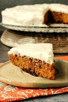 Carrot Cake Poke Cake with Salted Caramel Cinnamon Glaze. #cake