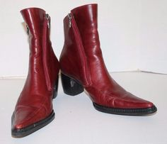 Harley Davidson Women's Red Leather Dual Zipper Pointed Toe Boots 84248 Sz 6  #HarleyDavidson #Motorcycle