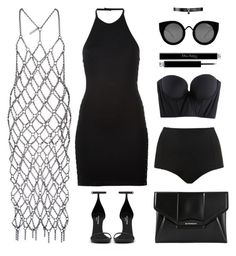 """""""Chain Dress"""" by baludna ❤ liked on Polyvore featuring Balmain, Fannie Schiavoni, Yves Saint Laurent, Fallon, Givenchy, Quay, Topshop, Christian Dior and Cosabella"""