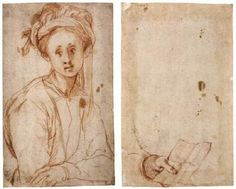 Youth Wearing a Turban (recto), Study of a Hand (verso) - Jacopo Pontormo.  c.1524.  Red chalk drawing.  247 x 148 mm.  Galleria degli Uffizi, Florence, Italy.