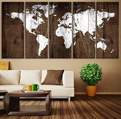 World Map Rustic Wall Art Map Art World by ExtraLargeWallArt