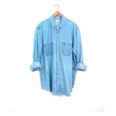 Vintage 90s Washed Out Faded Blue Chambray Denim Shirt Button Up... ($36) ❤ liked on Polyvore featuring tops, vintage button up shirts, blue button down shirt, boho tops, vintage denim shirt and denim shirts