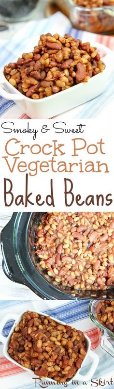 Crockpot Vegetarian Baked Beans recipe from scratch! Smoky and sweet! Crockpot Vegetarian Baked Beans recipe from scratch! Smoky and sweet! Simple Crock Pot cooking that Baked Beans Crock Pot, Slow Cooker Baked Beans, Vegan Slow Cooker, Slow Cooker Recipes, Crockpot Recipes, Vegetarian Baked Beans, Vegetarian Recipes, Healthy Recipes, Healthy Appetizers