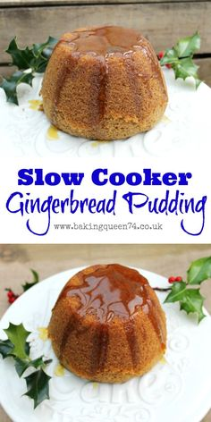 Delicious recipe for slow cooker gingerbread pudding - it is the perfect alternative to Christmas pudding for your festive menu Slow Cooker Desserts, Slow Cooker Cake, Crock Pot Desserts, Dessert Recipes, Hot Desserts, Winter Desserts, Christmas Desserts, Christmas Cooking, Slow Cooking