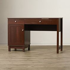 Computer Desk For Home With Storage - 2 Drawers And Side Storage - Contemporary Cherry Finish Workstation For Office Or Home