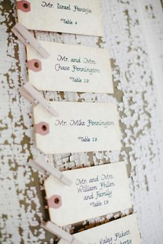 Escort Cards love this, we could use recleaimed lumber and these tags
