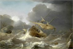 """""""Dutch Ships in a Gale"""" ~ ca 1620 by Jan Porcellis"""