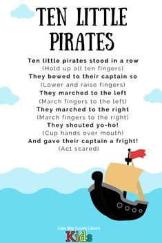 Pirate Storytime: Songs and Fingerplays Preschool Pirate Theme, Pirate Activities, Preschool Music, Preschool Activities, Fingerplays For Preschoolers, Kids Songs, Pirate Songs For Kids, Pirate Kids, Circle Time Songs