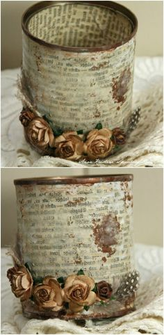 50 Jaw-Dropping Ideas for Upcycling Tin Cans Into Beautiful Household Items! - - 50 Jaw-Dropping Ideas for Upcycling Tin Cans Into Beautiful Household Items! Beautiful Vintage Upcycled Tin Can Holder for Craft Supplies and Tin Can Crafts, Crafts To Make, Fun Crafts, Arts And Crafts, Paper Crafts, Wood Crafts, Soup Can Crafts, Coffee Can Crafts, Upcycled Crafts