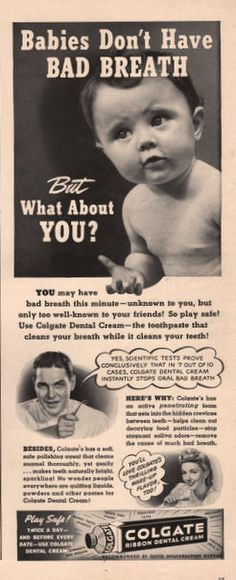 Cracked tooth dental center,dental care clinic canal surgery,pain in wisdom tooth area what can i use for gum infection. Vintage Advertisements, Vintage Ads, Dental Hygiene, Bad Breath, Print Ads, Breathe, The Cure, Conditioner, Illustrations