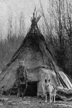 One of the earliest photos showing a Native American with A tipi (also tepee and teepee) and a wolf - unlike the myths created about wolves by settlers, some Indians maintained a respectful relationship with wolves. Native American Wisdom, Native American Beauty, Native American Photos, Native American Tribes, Native American History, American Indians, American Symbols, Native American Teepee, Native American Cherokee