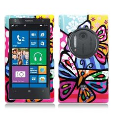AIMO Artsy Rubberized Texture Hard Case for Nokia Lumia 1020 [AT&T] - Pizato Designs Series (Butterflies)