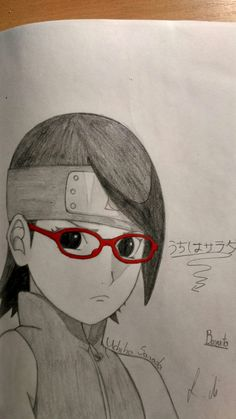 This is Uchiha Sarada from: Boruto (Naruto:the next generation) This is a new anime so me and my best friend like this with Naruto. Naruto Sketch, Naruto Drawings, Anime Drawings Sketches, Anime Sketch, Manga Drawing, Naruto Uzumaki, Anime Naruto, Paper Child, Borderlands Art