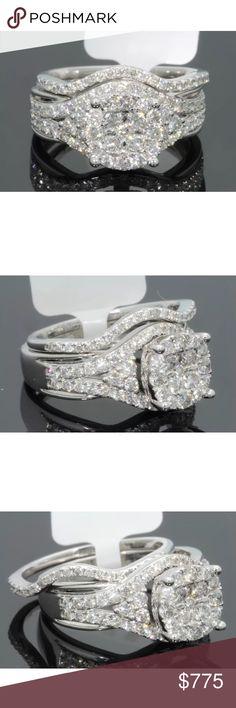 Stunning 1.5 carat 10k white gold diamond ring set Stunning 1.5 carat 10k white gold diamond ring set Jewelry Rings
