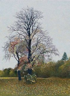 Annie Ovenden(British, b.1945) Tree on Bodmin Hill 2015 Oil on Board 46 X 36 cm via Blooming Trees, English Artists, British Artists, Thread Painting, Naive Art, Photo Tree, Tree Art, Landscape Paintings, Tree Paintings