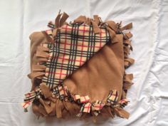 Tan Plaid No Sew  Blanket by MoreThanJustARibbon on Etsy, $35.00