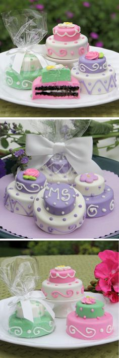 Mini 2 Tier Cakes made from Oreos and Belgian Chocolate - beautiful and delicious!   Choose the cake colors, royal icing decorations, and bow color for the packaging to match your wedding.