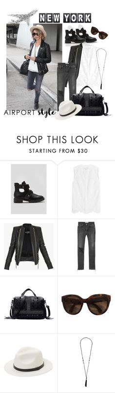 """Chill Airport Style"" by karito-pinup ❤ liked on Polyvore featuring Diane Von Furstenberg, Balmain, Balenciaga, CÉLINE, Saks Fifth Avenue and airportstyle"