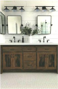 Inspiring Rustic Master Bathroom Decor Ideas With Farmhouse Style - Bathroom ideas Rustic Bathroom Lighting, Rustic Master Bathroom, Master Bathroom Vanity, Bathroom Vanity Designs, Modern Farmhouse Bathroom, Bathroom Styling, Small Bathroom, Bathroom Ideas, Bathroom Storage