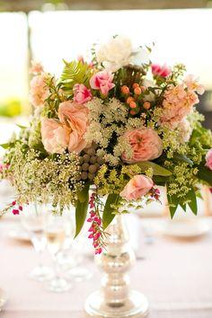 raised floral centerpiece.