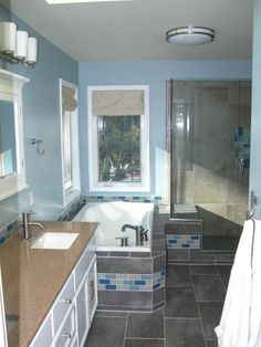 Bathroom Remodel Kitsap County dark grey rectangular tiles. planning on this for our master bath
