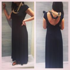 black maxi dress open back
