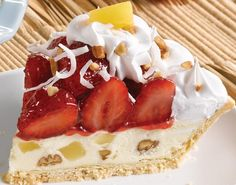 Bakers Square Hawaiian Strawberry: A taste of paradise with a flaky crust and decadent supreme filling with luscious pineapple, coconut and crunchy pecans. Topped with sweet glazed strawberries, real whipped cream, coconut sprinkles, pecans bits and pineapple.