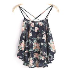 SheIn(sheinside) Black Spaghetti Strap Floral Chiffon Cami Top ($9.89) ❤ liked on Polyvore featuring tops, black, summer tops, beach tanks, summer tanks, chiffon cami and chiffon tank
