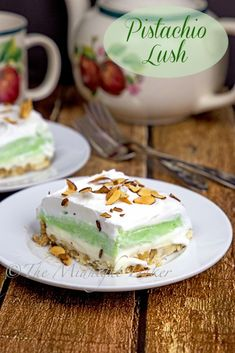 Pistachio Lush the outstanding flavor in this easy-to-make dessert pistachios. 13 Desserts, Easy To Make Desserts, Pudding Desserts, Summer Desserts, Delicious Desserts, Dessert Recipes, Yummy Food, Layered Desserts, Plated Desserts