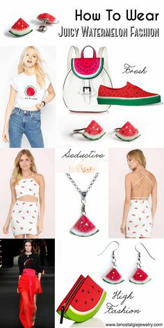 How-to-wear mouthwatering juicy watermelon fashion this fun Summer with watermelon jewelry and outfits! #WatermelonStyle #FruitFashion #WatermelonFashion