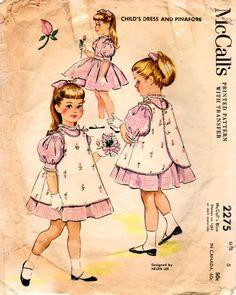 Costura Vintage 2275 patrón chica de los años 1950 McCall Vestido de fiesta y delantal talla 5