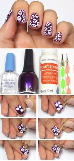 Halloween Skully Nail Art   Click Pic for 23 Spooky Nail Art Ideas for Halloween   DIY Halloween Nail Art for Kids