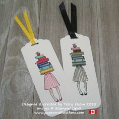 Bookmarks featuring a girl holding a stack of books created using the Hand Delivered Stamp Set and all 10 Brights Stampin Write Markers (left) and all 10 Neutrals (right) from Stampin' Up! Creative Bookmarks, Paper Bookmarks, Watercolor Bookmarks, Bookmarks Kids, Watercolor Books, Corner Bookmarks, Crochet Bookmarks, Wrapping Ideas, Bookmark Craft