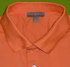 5fd662de8 Peter Millar Polo Shirt Orange Summer Comfort w/Sponsor Logo S/S Mens size  Large