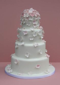 Tumbling Hydrangea Wedding Cake White Iced With Handcrafted Sugar