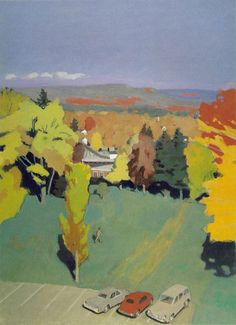 Fairfield Porter (Am 1907-1975),Amherst Campus No 1, 1969, oil on canvas, 62-1/4 x 46 inches, Collection of Parrish Art Museum, Southampton