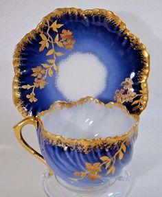 Antique Lanternier Limoges Cobalt Blue Gold Encrusted Cup and Saucer Tea Cup Set, My Cup Of Tea, Cup And Saucer Set, Tea Sets, Tea Cup Saucer, China Cups And Saucers, China Tea Cups, Teapots And Cups, Antique Dishes