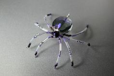 Faceted Blue Rainbow Quartz Beaded Spider Christmas Tree Legend Holiday Ornament