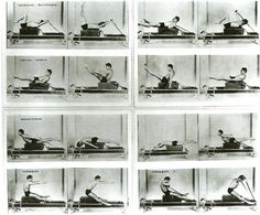 Joe Pilates demonstrates Reformer Pilates exercises on the long box - Tattoo MAG Pilates Workout, Pilates Mat Class, Pilates Chair, Pilates Reformer Exercises, Best Cardio Workout, Pilates Studio, Workouts, You Fitness, Physical Fitness