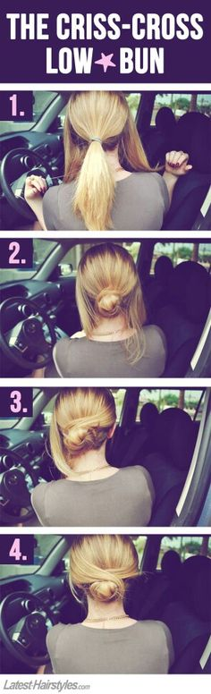 Criss-cross your hair into this simple low bun. – Tabriya Weeks Criss-cross your hair into this simple low bun. Criss-cross your hair into this simple low bun. Coiffure Hair, Braid Hair, Hair In A Bun, Easy Hair Buns, Thin Hair Updo, Hair Knot, Easy Bun Hairstyles, Wedding Hairstyles, Office Hairstyles