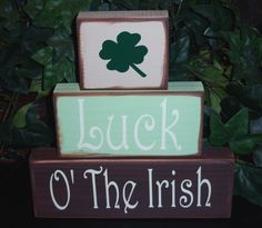 Luck O' The Irish St. Patrick's Day Wood Blocks
