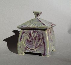 Small lidded ceramic box with swirly purple by ClayStudioDesigns Ceramic Boxes, Clay Studio, Ginger Jars, Decorative Boxes, Container, Ceramics, Purple, Unique Jewelry, Handmade Gifts