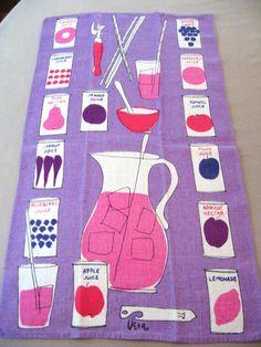 Vera juice towel, vintage dish hand kitchen towel, Vera Neumann