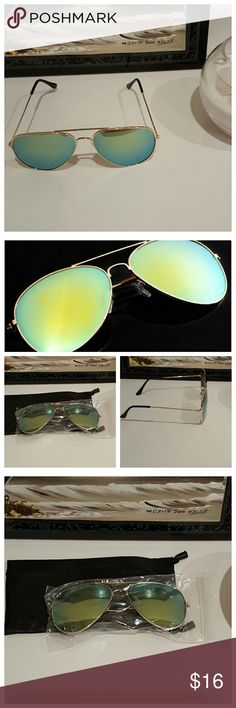New Aviator Flat Mirrored Sunglasses - Gold & Gree New in package, only taken out for photos. Fashion aviator mirror sunglasses with UV protection. Includes soft sunglass case pictured. Gold colored alloy frames with green mirror lens. Unisex shades. Accessories Sunglasses