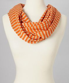 Take a look at this Dark Orange Stripe Infinity Scarf by SAKA INC. on #zulily today!