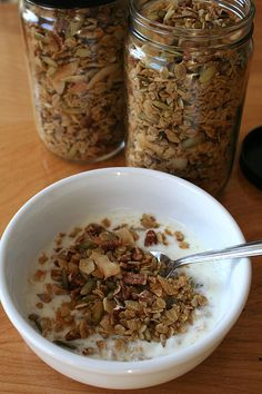 Maple pecan granola -- I make it with oats, pecans, wheat germ (and whatever else is around), and slightly less of the maple syrup mixture.  It's still like candy for breakfast ... in a good way!