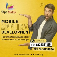 Have an Idea for a Big App? The future of mobile is the future of online. It's time to compete with the world. It's time to have your own Mobile Application. Let us help you build a better Mobile Application. 🖥️ www.optiinfo.com 📩 info@optiinfo.com 📲 +91 8128361116 / 7575058824 🔗 wa.me/918128361116 #Mobileapp #mobileapps #mobileappdevelopment #mobileapplication #mobileappdesign #MobileApplications #mobileapplicationdevelopment #optiinfo Website Design Services, Website Design Company, Mobile Application Development, Mobile App Design, Best Mobile, A Team, Logo Design, Future, Big
