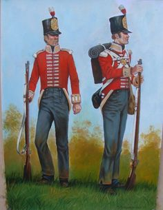 Soldiers of the 3rd Regiment of Foot (I'm guessing the guy on the left hasn't got his cross-belts on so that the artist can show the lace of his jacket.)