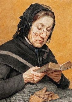A Peasant reading, 1908 by Albert Anker